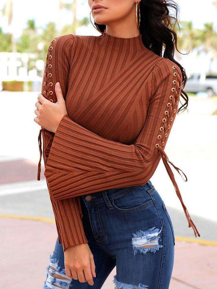 Lace-up Bell Sleeve High Neck Top