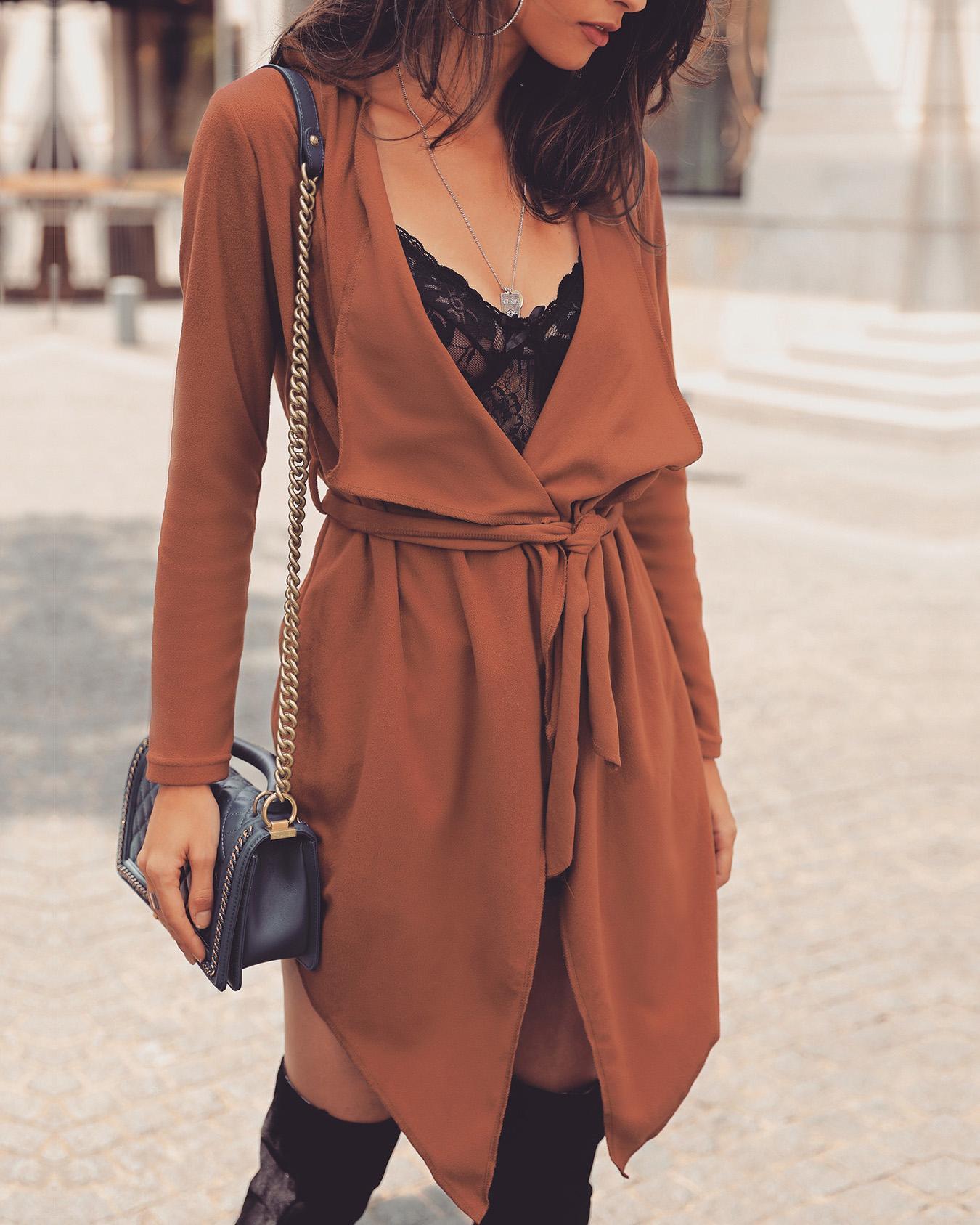 Solid Long Sleeve Tied Waist Irregular Coat фото
