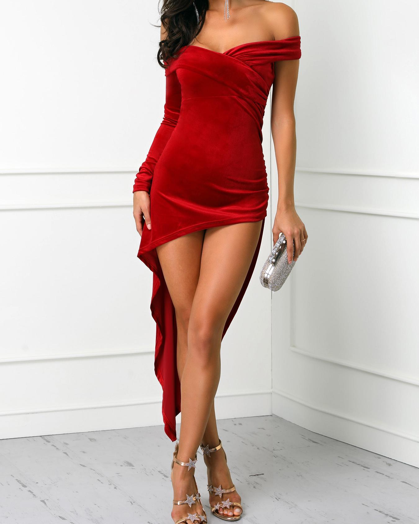 Solid Velvet Ruched Irregular Hem Dress фото