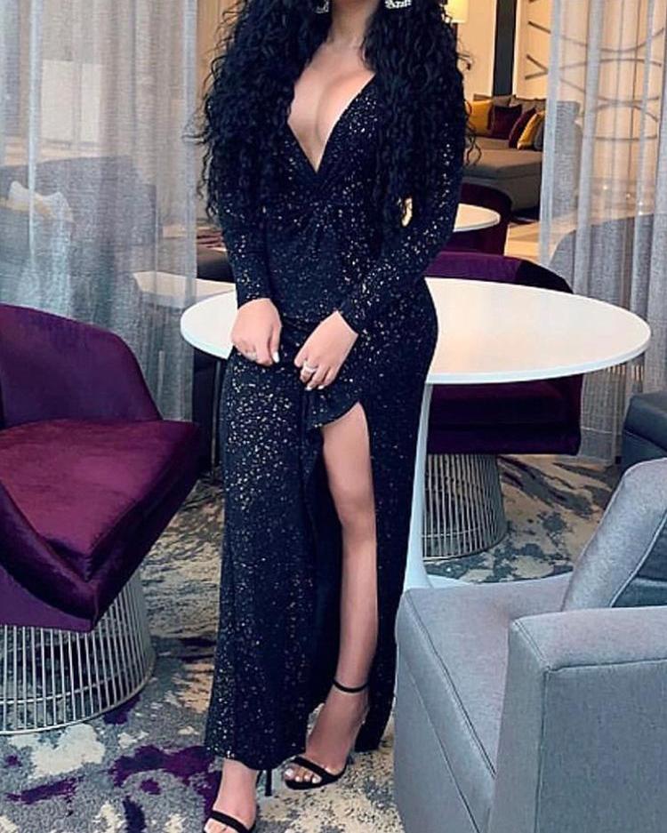 Long Sleeve Glitter Slit Evening Dress