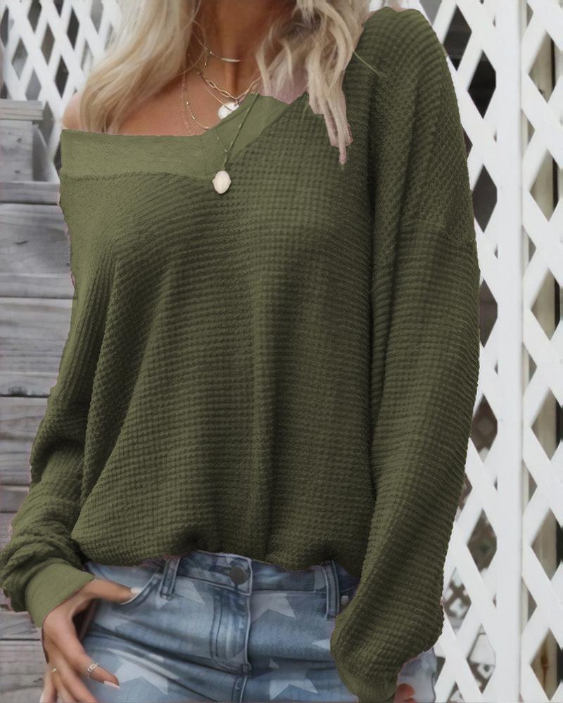 Casual V-neck Long Sleeve Sweater фото