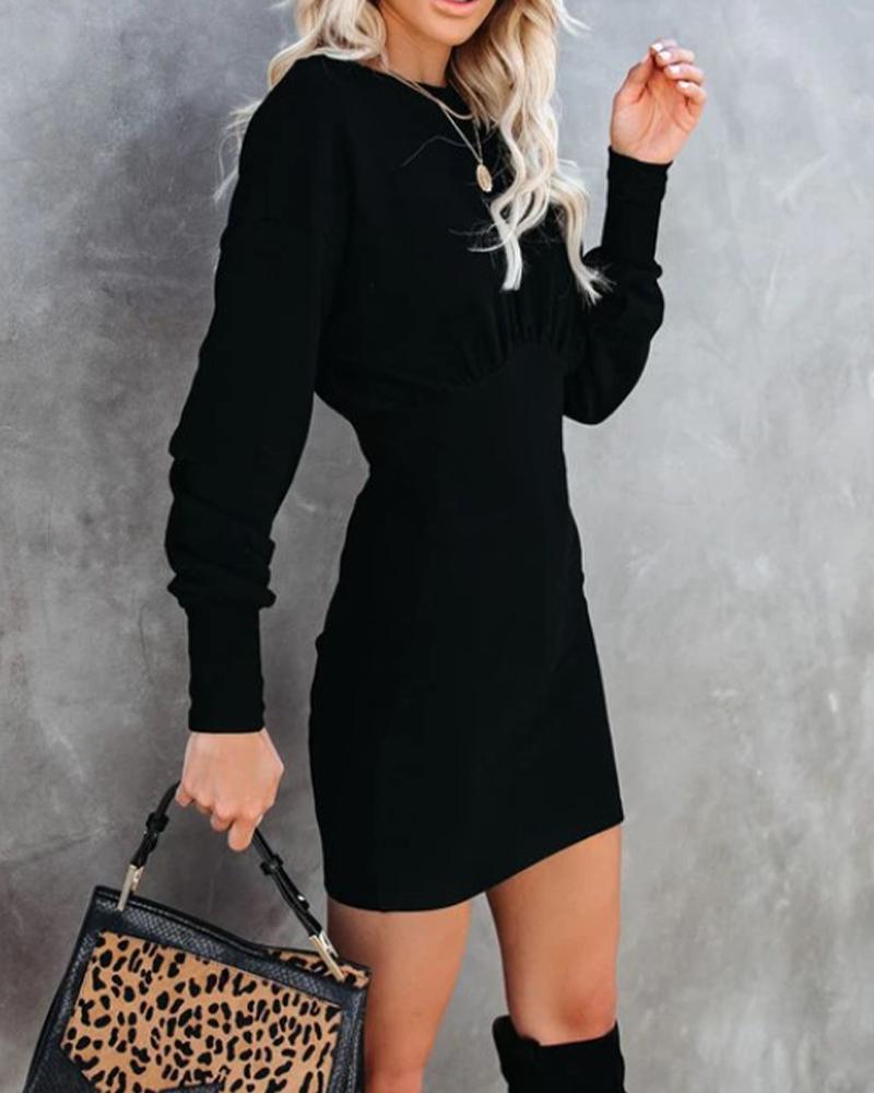 joyshoetique / Solid Skinny Waist Long Sleeve Dress