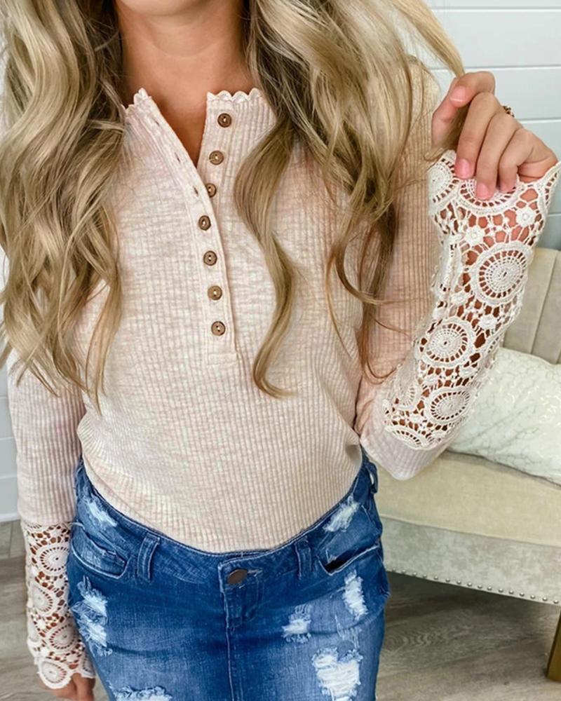 Crochet Lace Ruffles Button Design Top фото