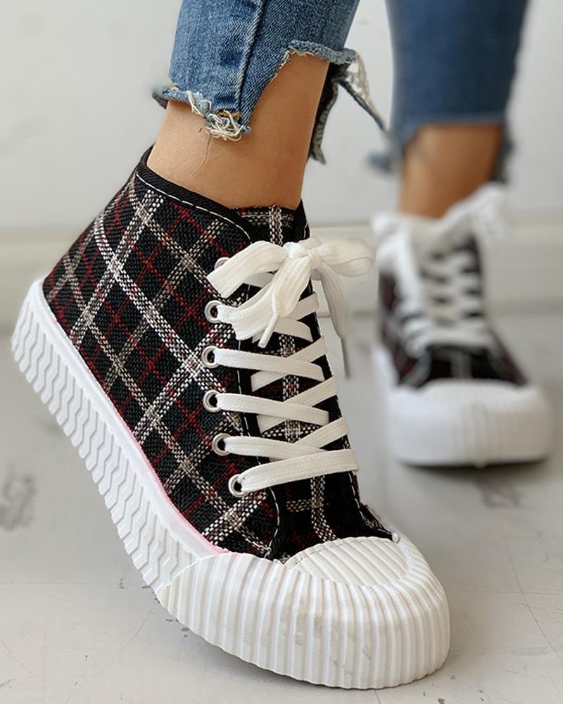 boutiquefeel / Zapatillas casuales con cordones y diseño de cuadrícula