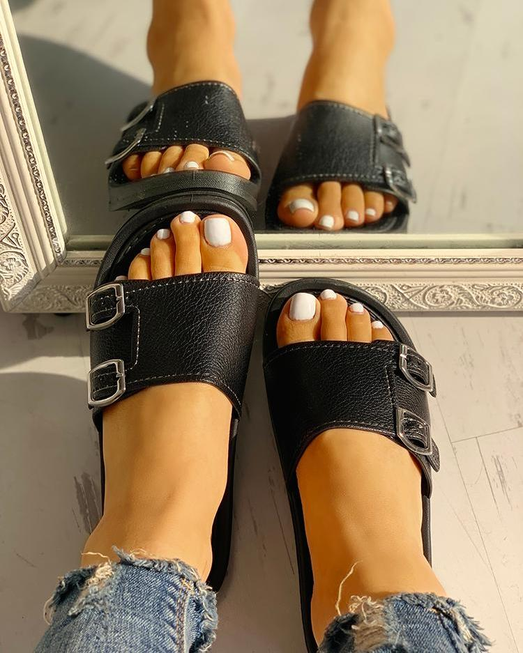 Buckle Single Strap Open Toe Flat Sandals, Black