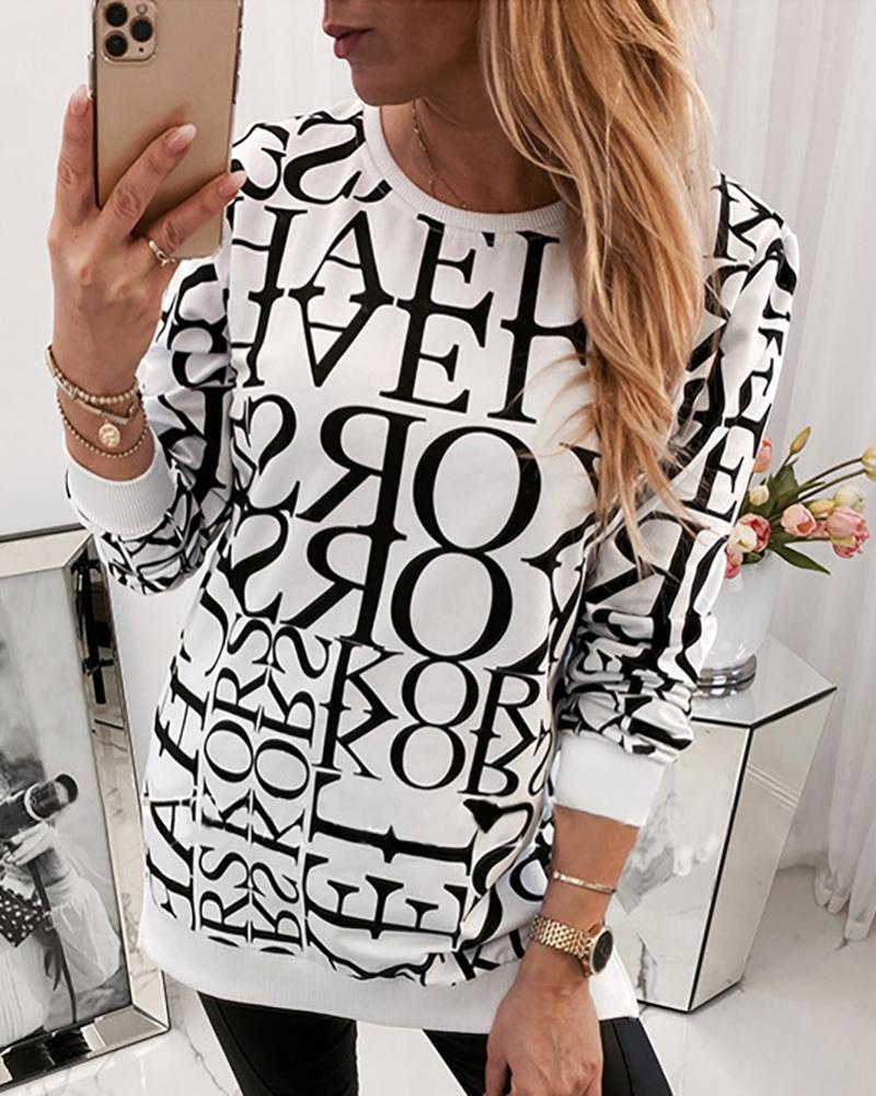 Round Neck Letter Print Long Sleeve Casual Blouse фото