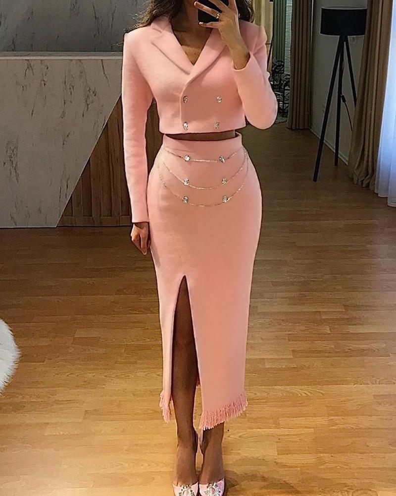 Image of Double Breasted Blazer Coat & Slit Chain Strap Maxi Skirt Set