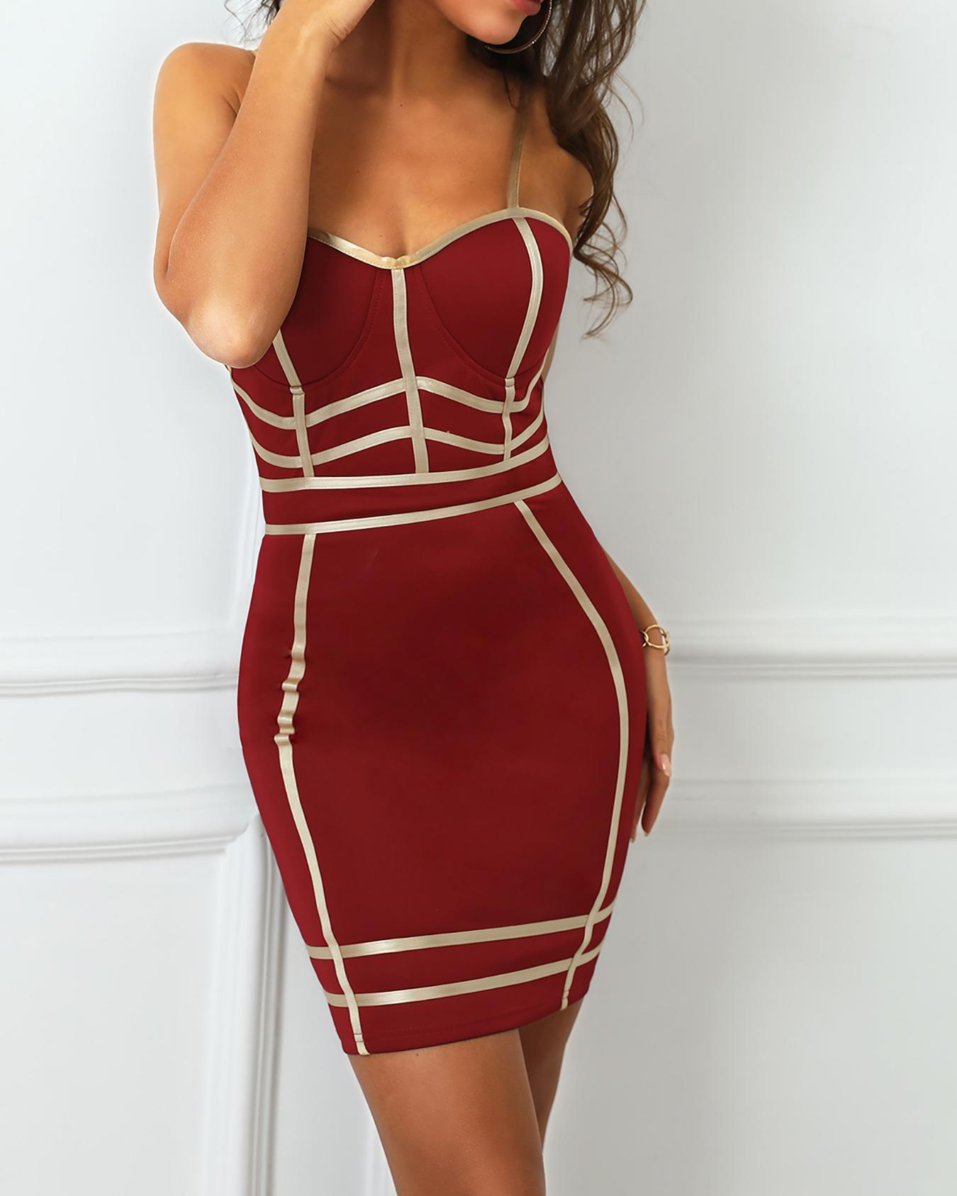 Reflective-Striped Spaghetti Strap Bodycon Dress фото