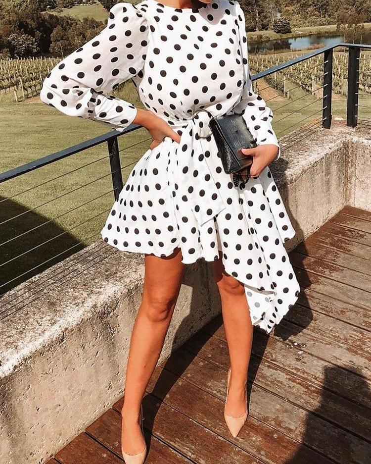 Dots O-Ring Self Belt Irregular Dress