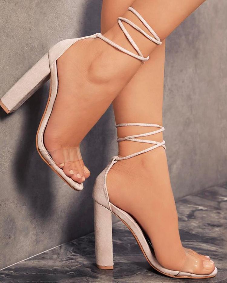 chicme / Cómodas sandalias de tacón grueso con cordones