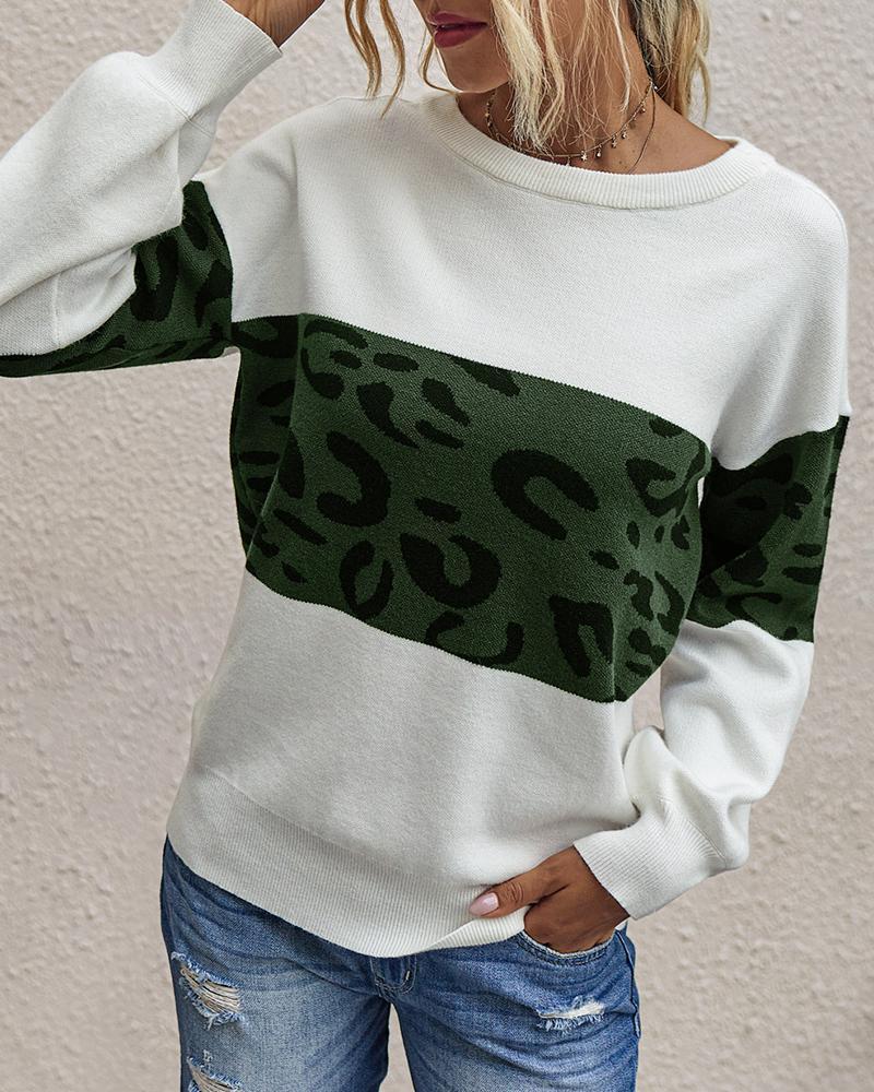 Cheetah Print Colorblock Long Sleeve Casual Sweater фото