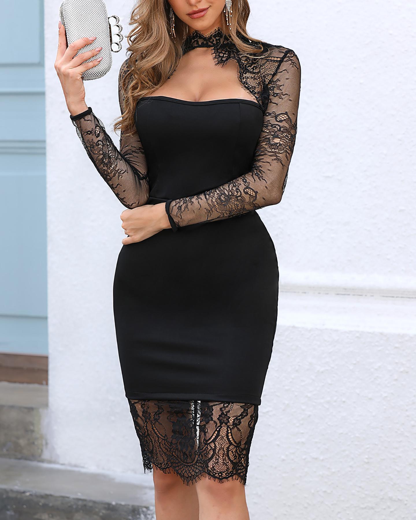 Mock Neck Cut Out Long Sleeve Lace Insert Bodycon Dress фото