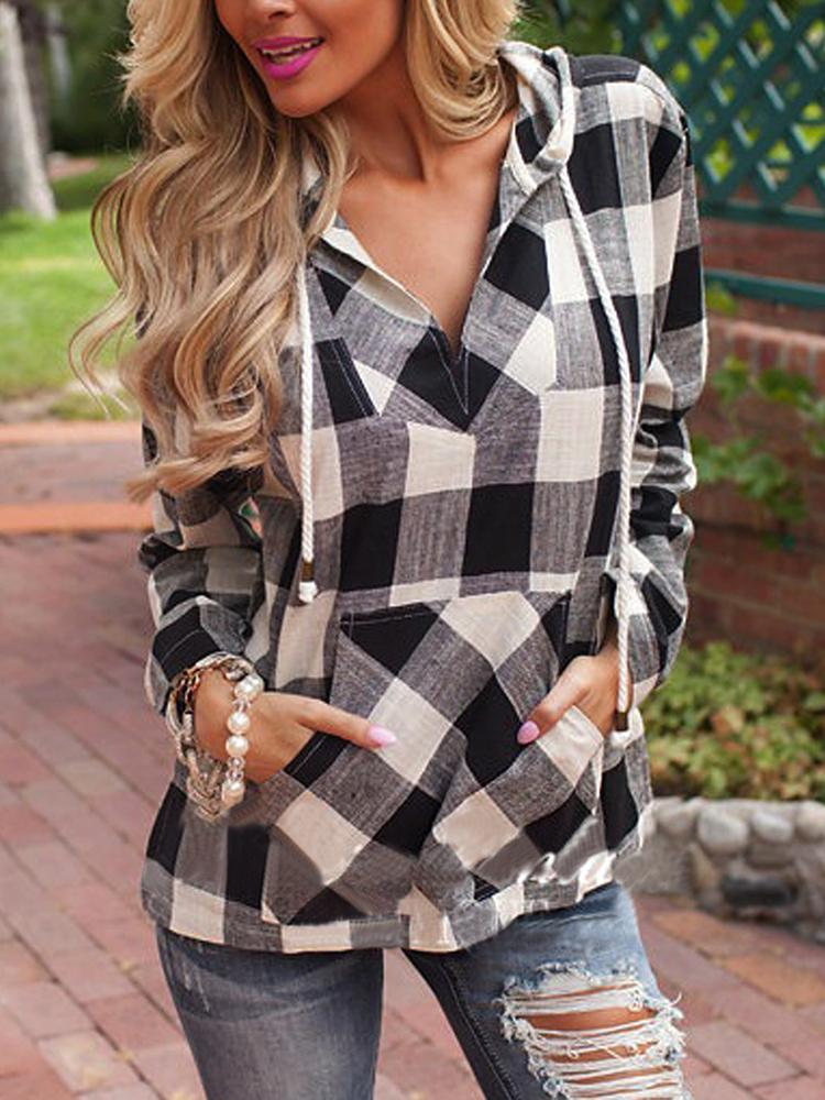 Casual V Neck Checked Hoodie Pocket Top