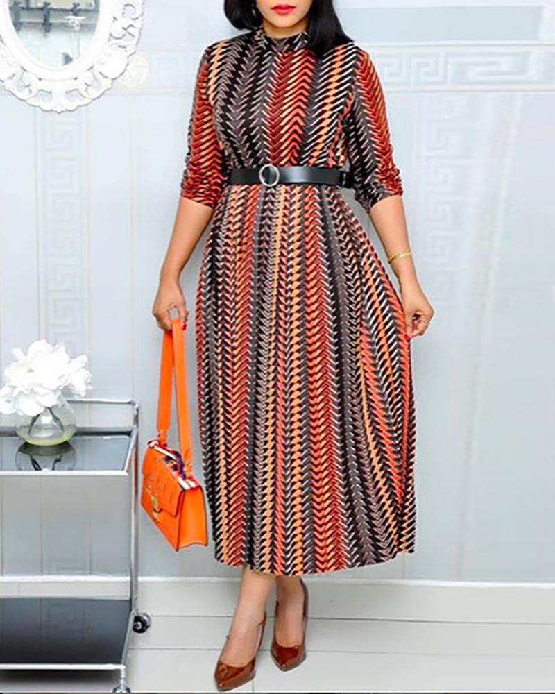 Print Half Sleeve Maxi Dress With Belt