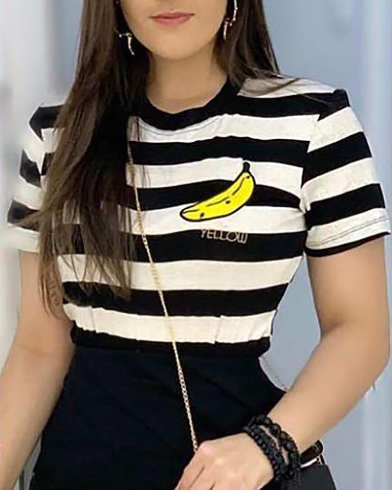 chicme / T-shirt casual com estampa listrada