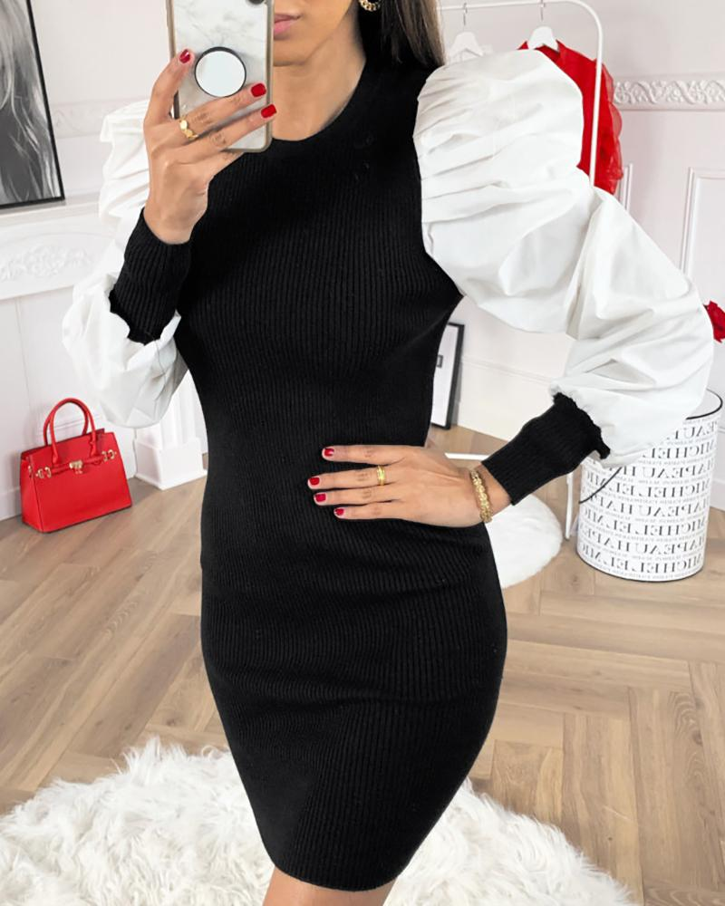 Puffed Sleeve Ribbed Sweater Dress фото