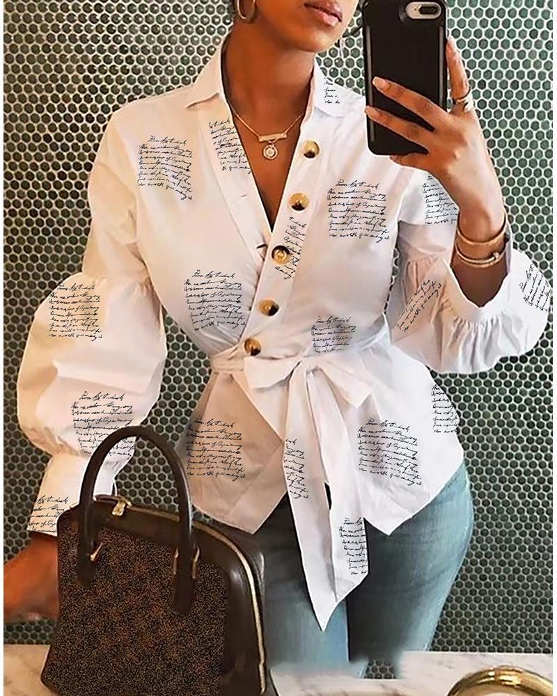 boutiquefeel / Blusa estampada con envoltura abotonada y manga linterna
