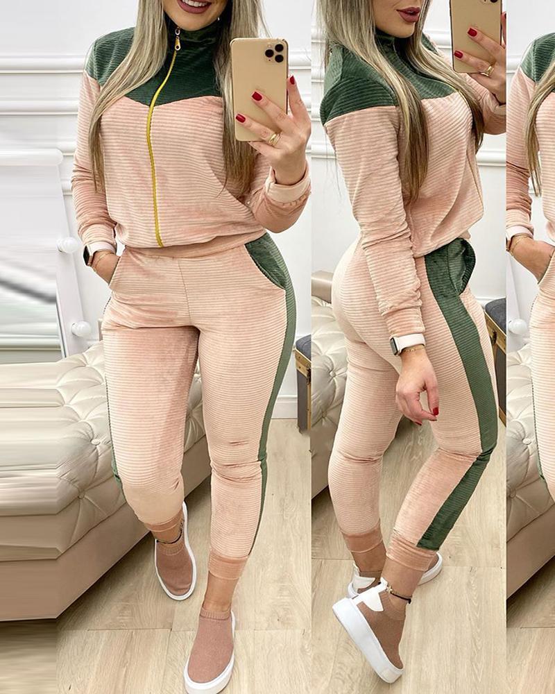 boutiquefeel / Colorblock Zip Top & Pocket Design Pants Set