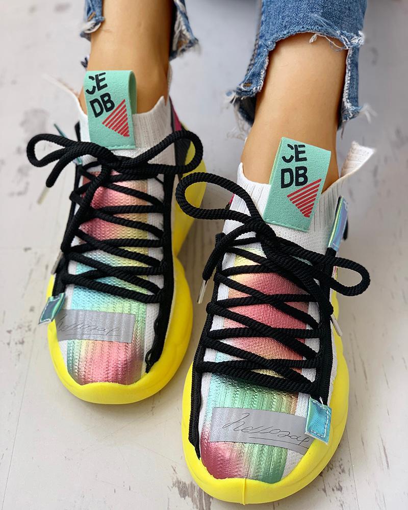 chicme / Zapatillas casuales transpirables de punto con cordones