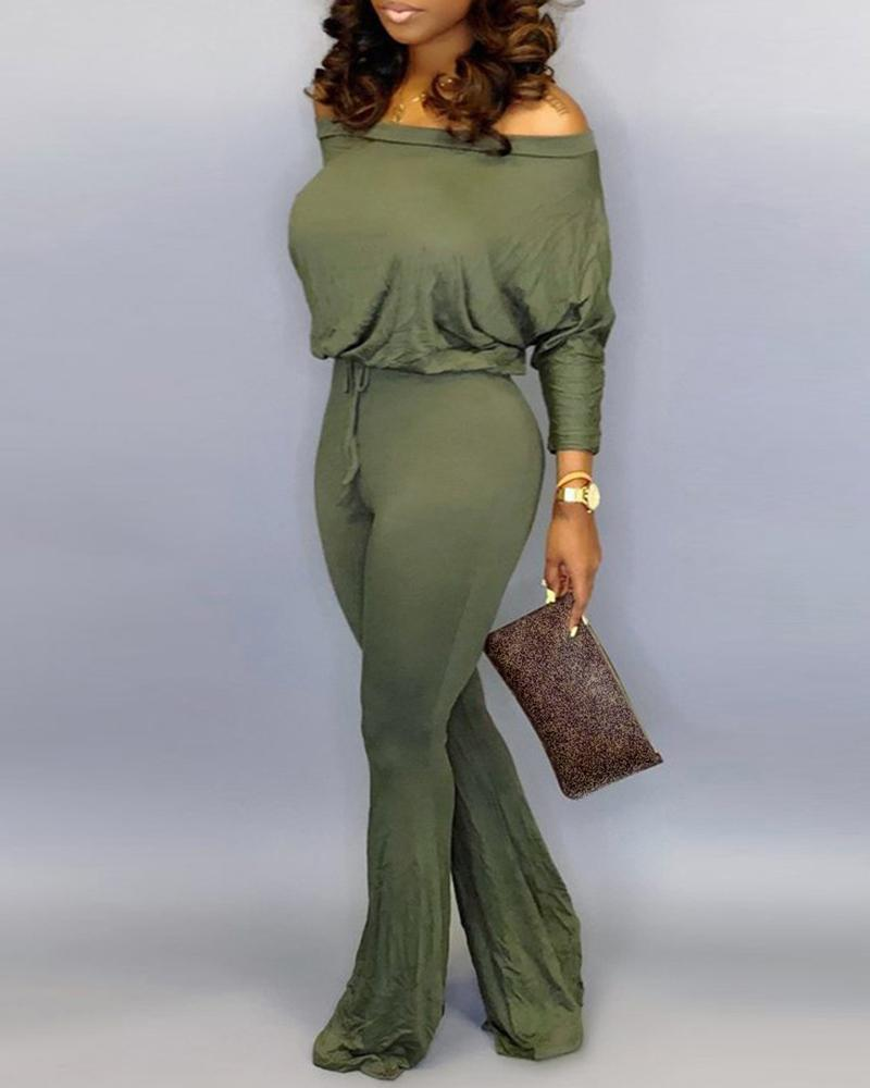 joyshoetique / Solid Off Shoulder Batwing Sleeve Drawstring Jumpsuit