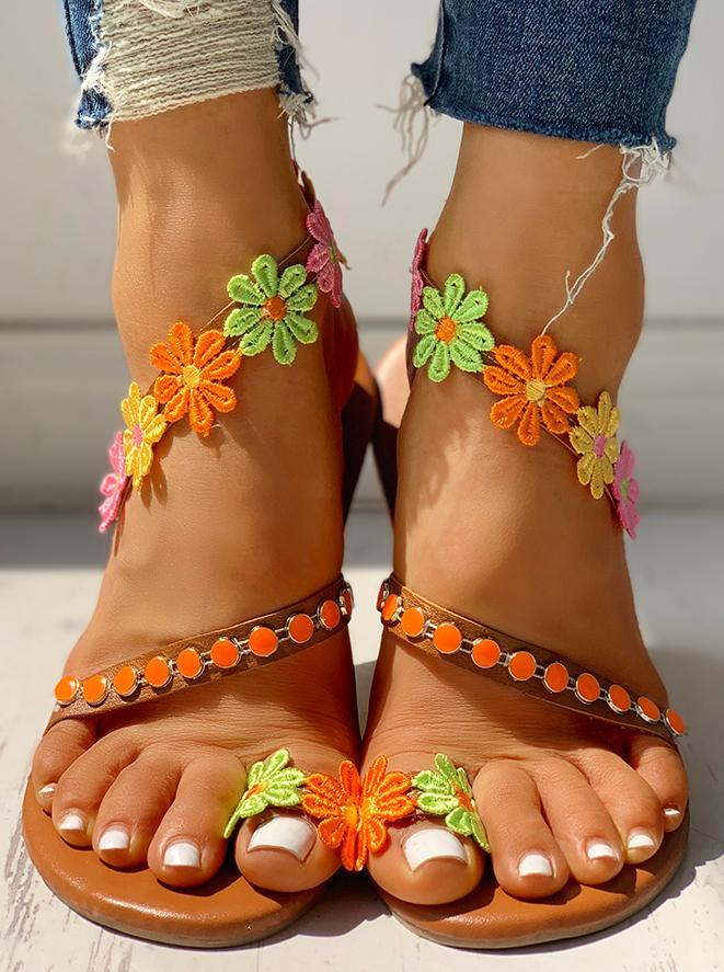 chicme / Flor embelezada toe anel sandálias planas