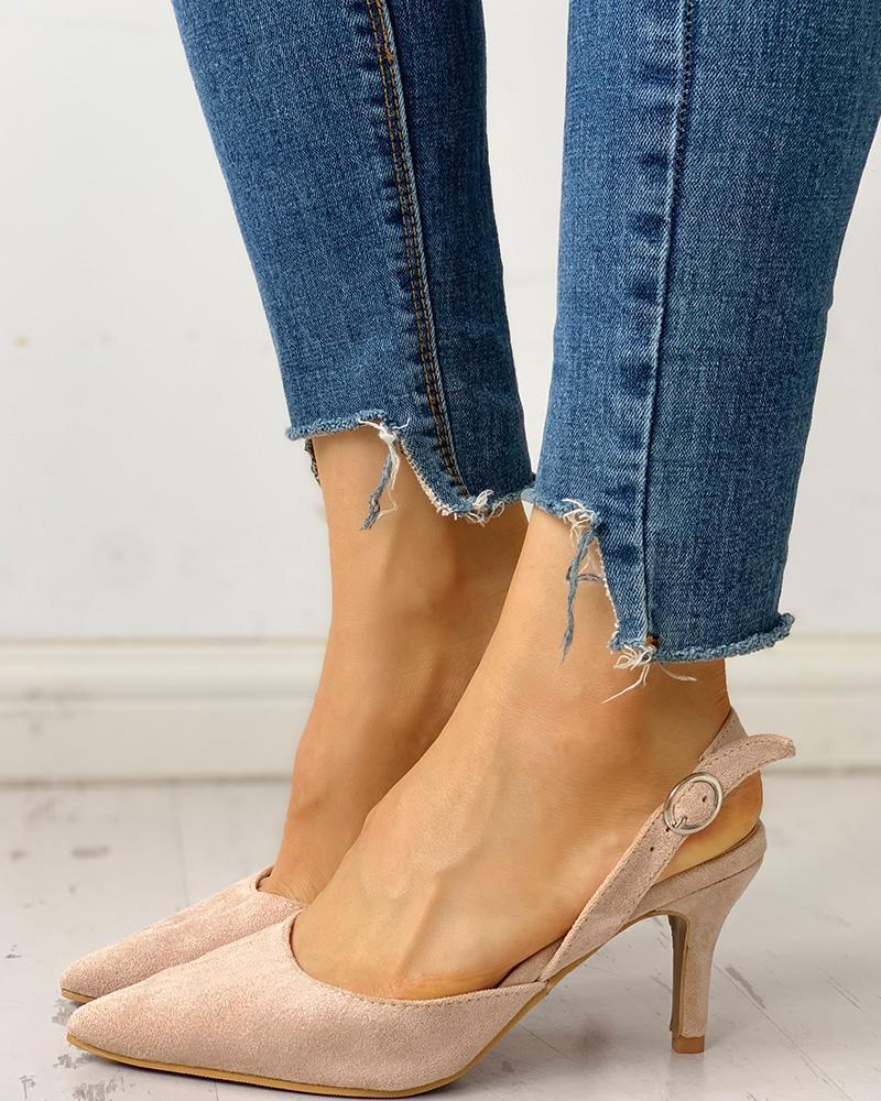 joyshoetique / Pointed Toe Suede Slingback Heels