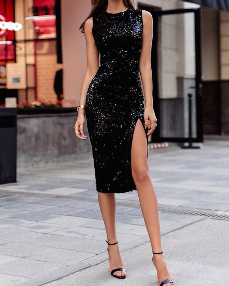 Side Slit Bodyon Sequin Dress фото