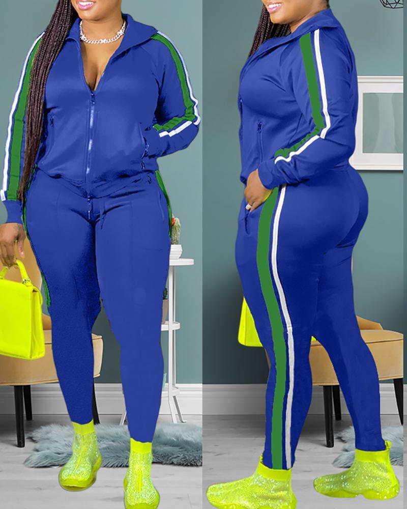ivrose / Striped Colorblock Zip Top & Drawstring Pants Sets