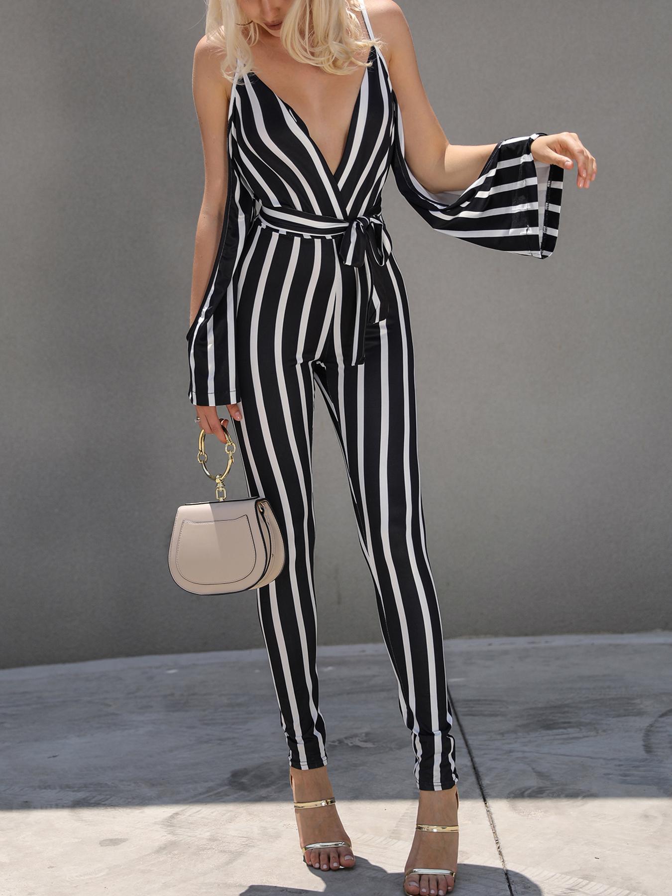joyshoetique / Low Cut Striped Open Shoulder Tied Skinny Jumpsuit