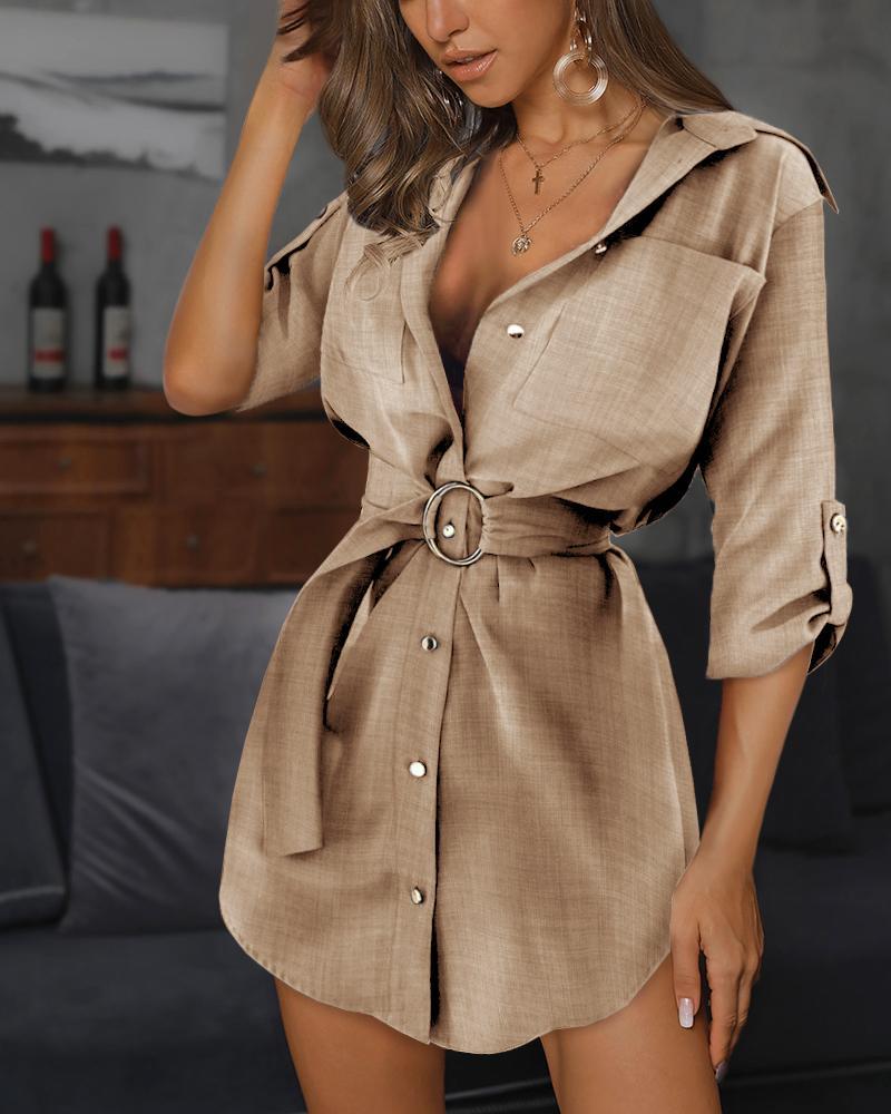 Ring Belt Shirt Dress фото