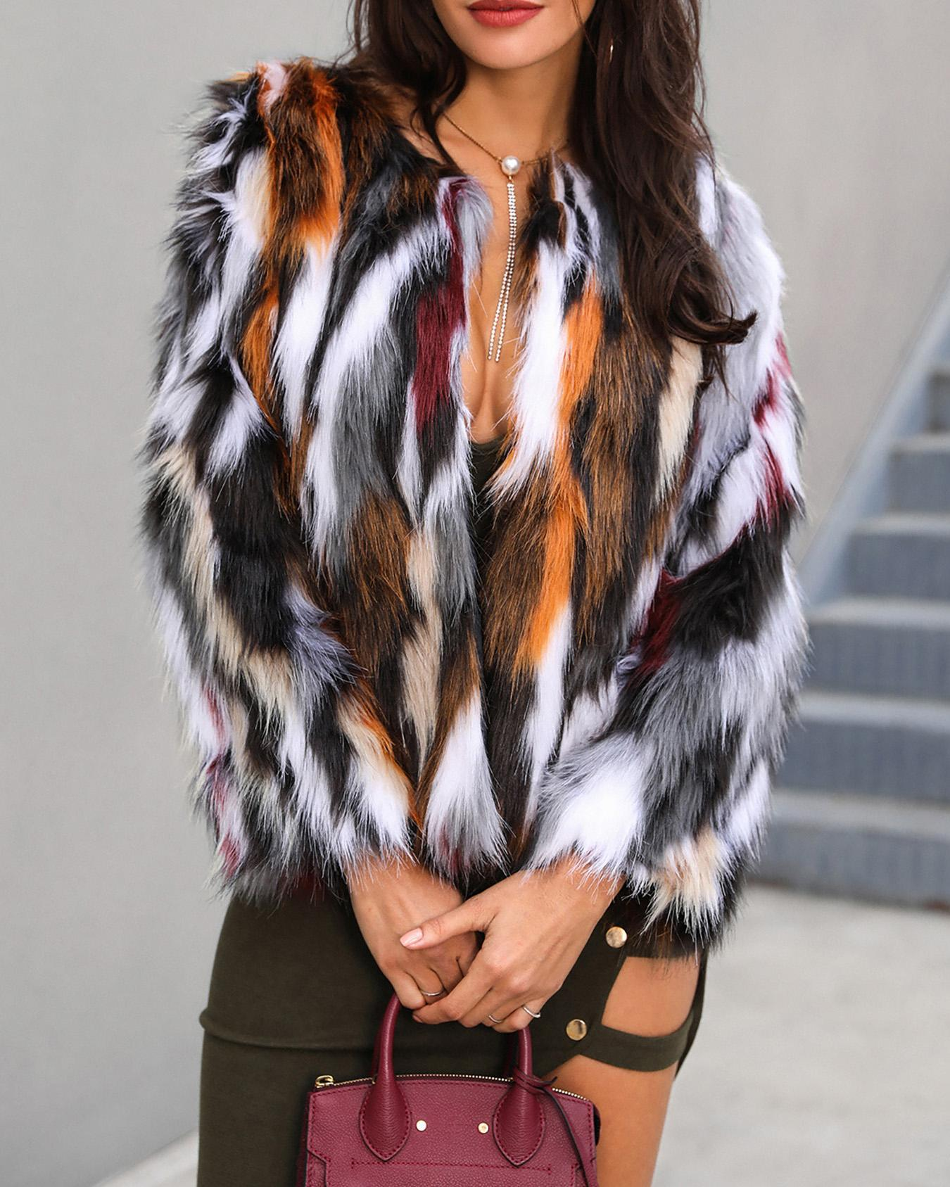 Multi Color Open Front Fluffy Coat, Multicolor
