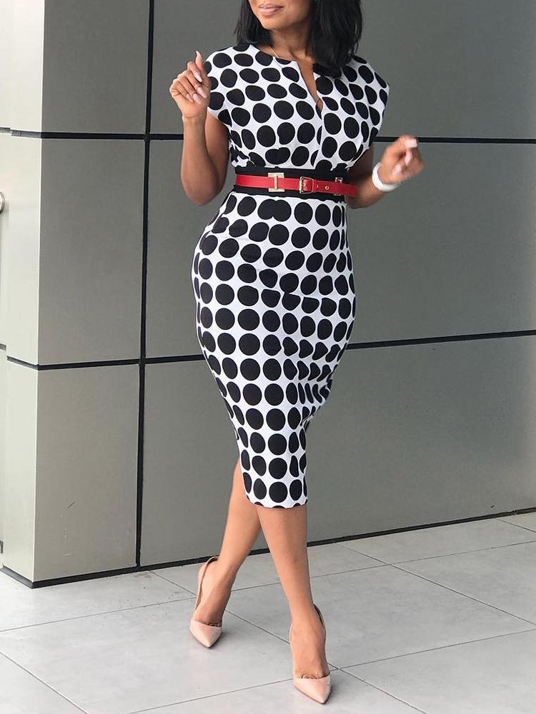 chicme / Formal Polka Dot Print V Neck Sheath Dress
