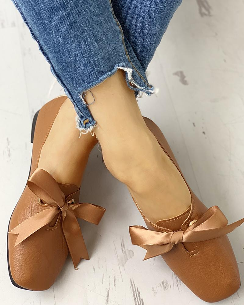 Bowknot Design Casual Flat Shoes