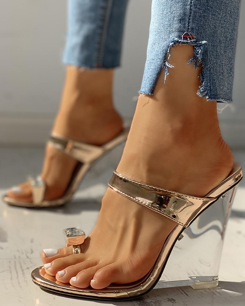 ivrose / Sapatos de cunha enfeitados com diamantes Pu