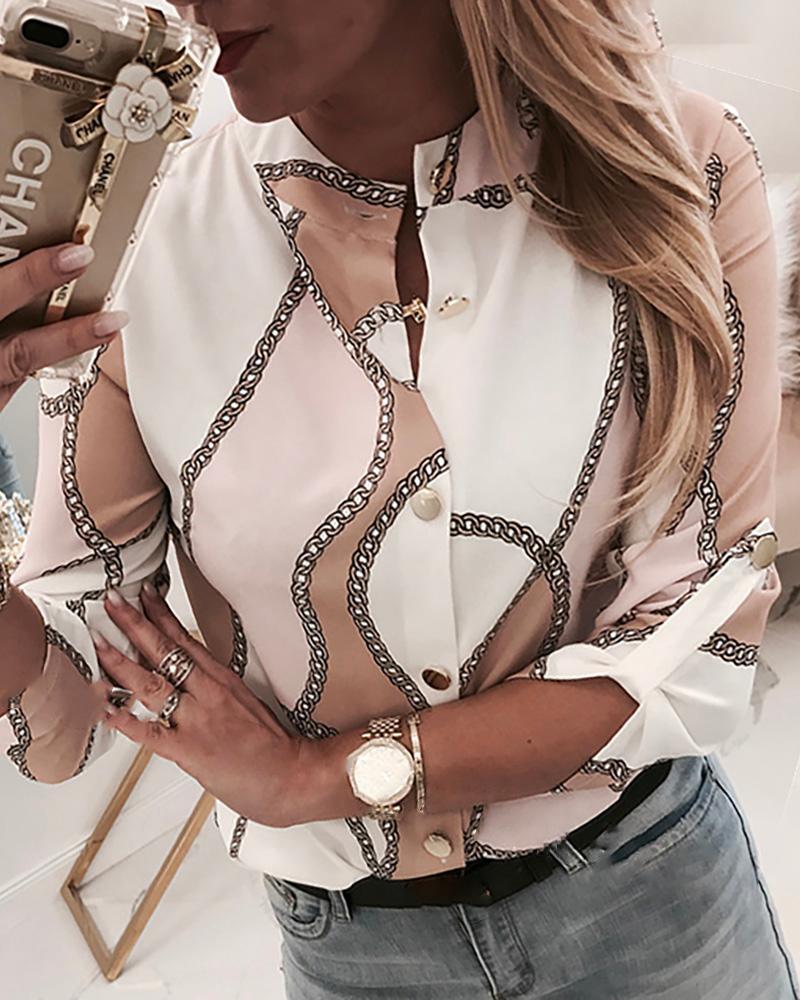 Chain Print Button Through Casual Shirt фото