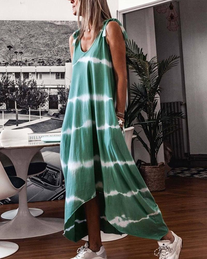 Tie dye Backless Tank Maxi Dress фото