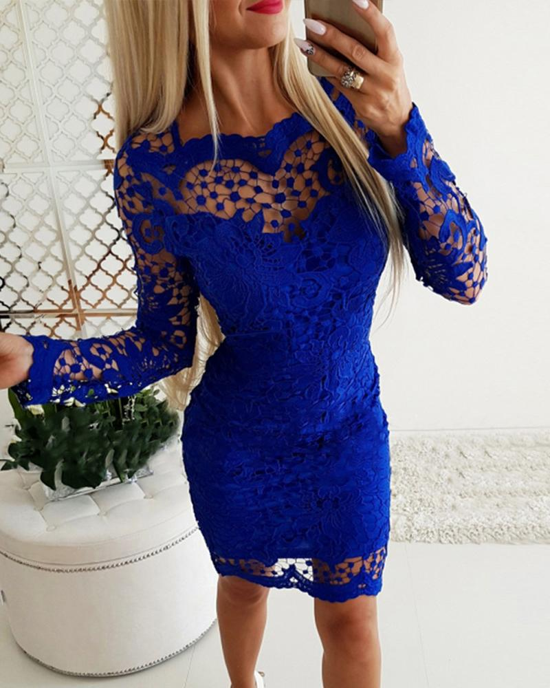 ivrose / Hollow Out Lace Insert Long Sleeves Dress