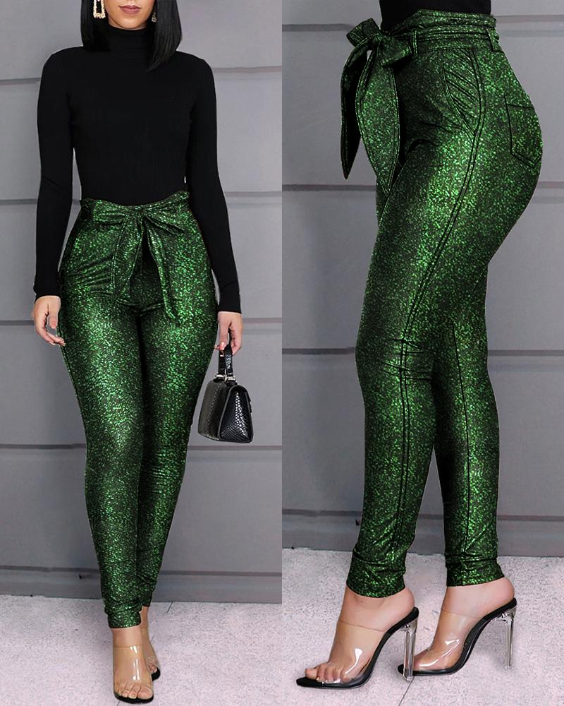 High Waist Belted Glittering Pants фото