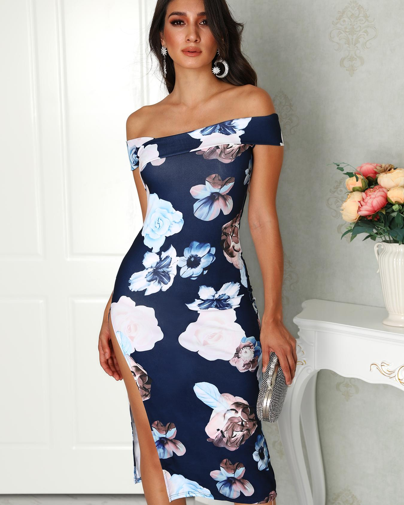 Off Shoulder Floral Side Split Midi Dress фото