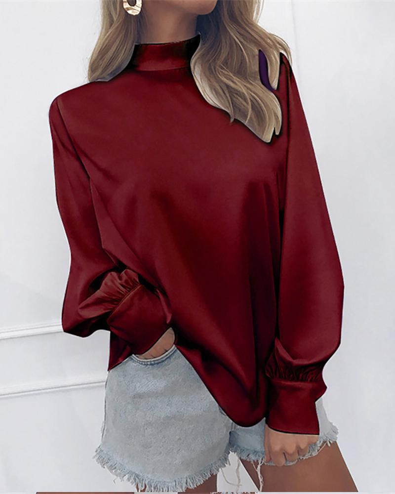 Solid Lanter Sleeve Casual Blouse фото