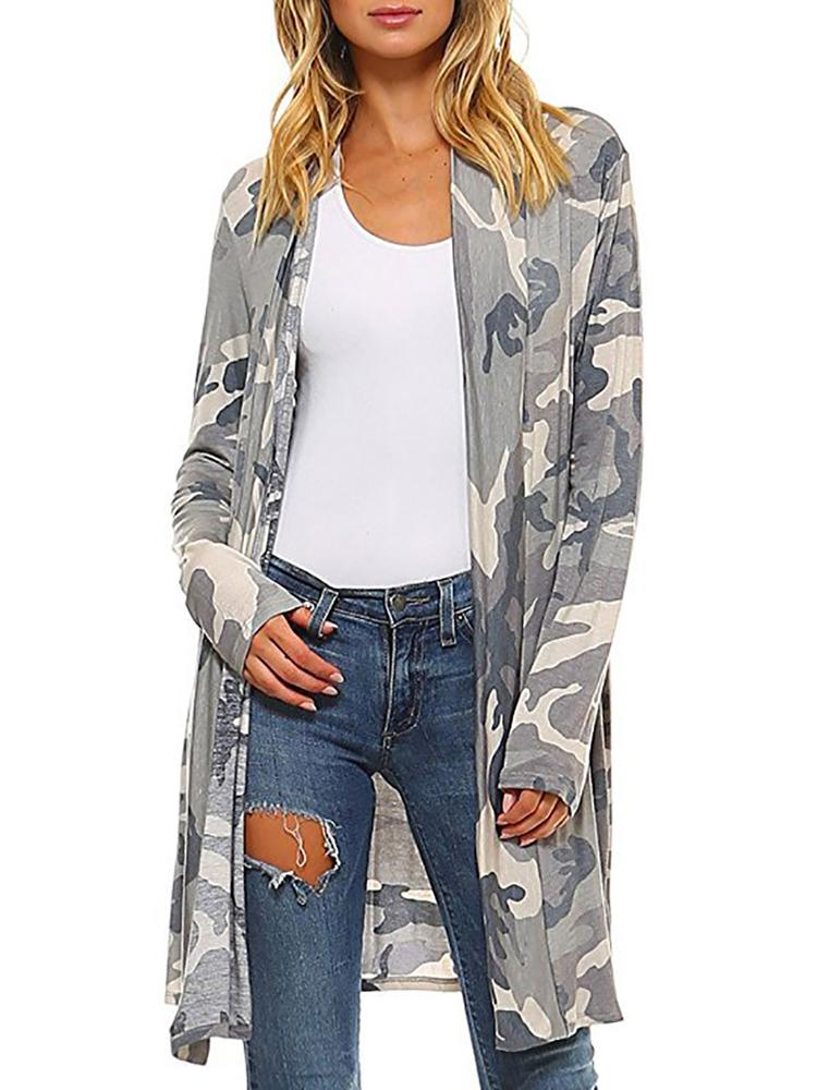Camouflage Print Casual Cardigans