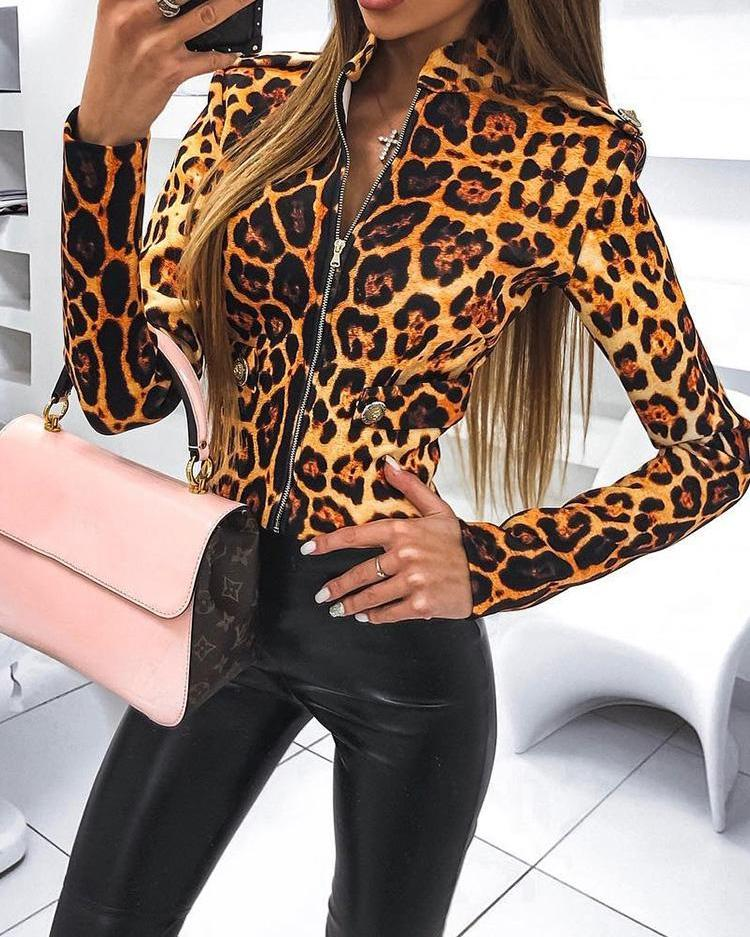 Leopard Print Zipper Up Jacket