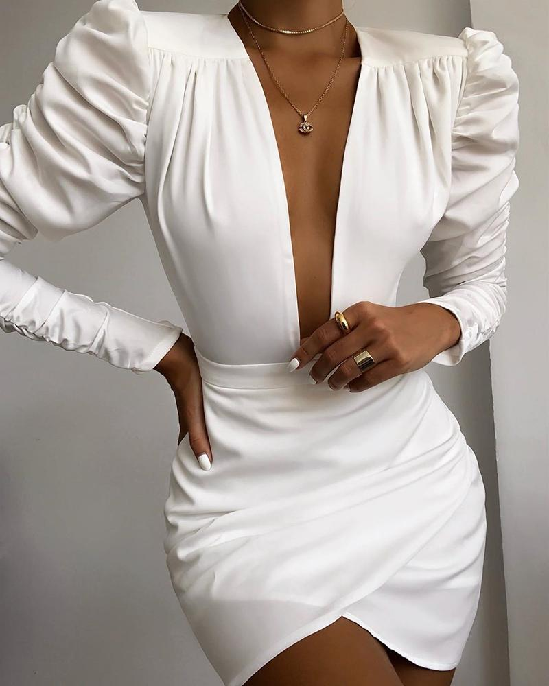 Solid Puff Sleeve Ruched Bodycon Dress фото