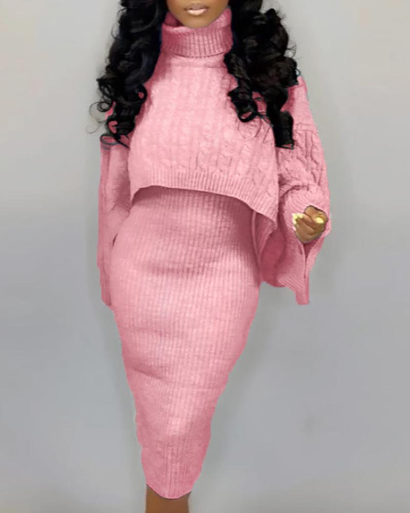 Solid High Neck Ribbed Sweater & Thin Strap Dress Sets, Pink