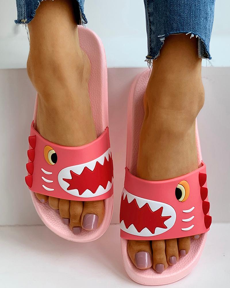 Open Toe Cartoon Pattern Flat Sandals фото