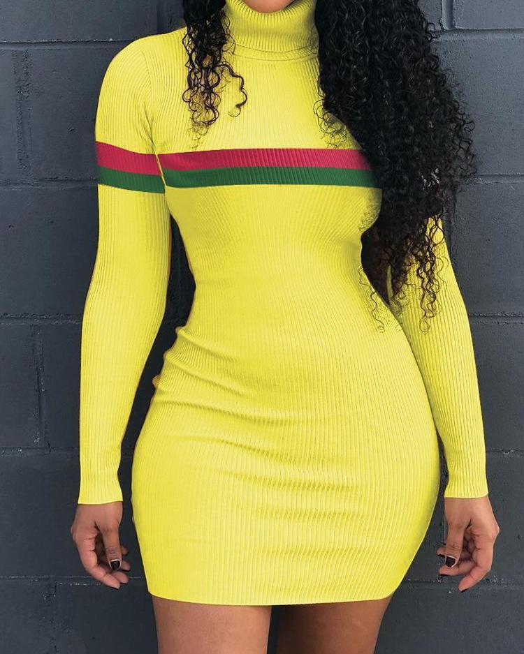 Stripes Tape High Neck Mini Dress