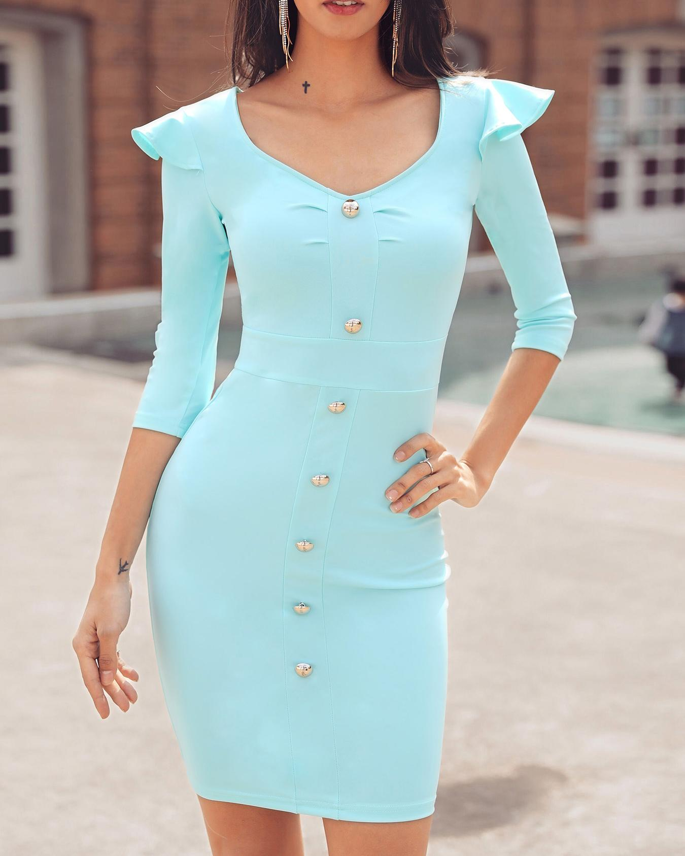 Button Design Ruffles Shoulder Bodycon Dress фото
