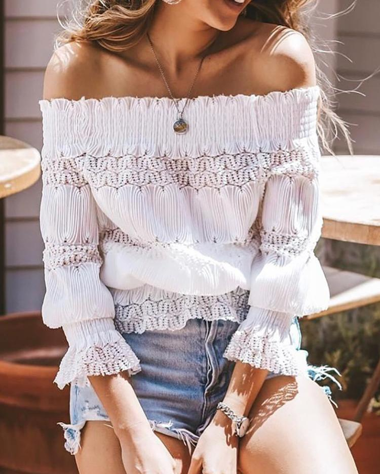 Off Shoulder Hollow Out Shirring Blouse фото