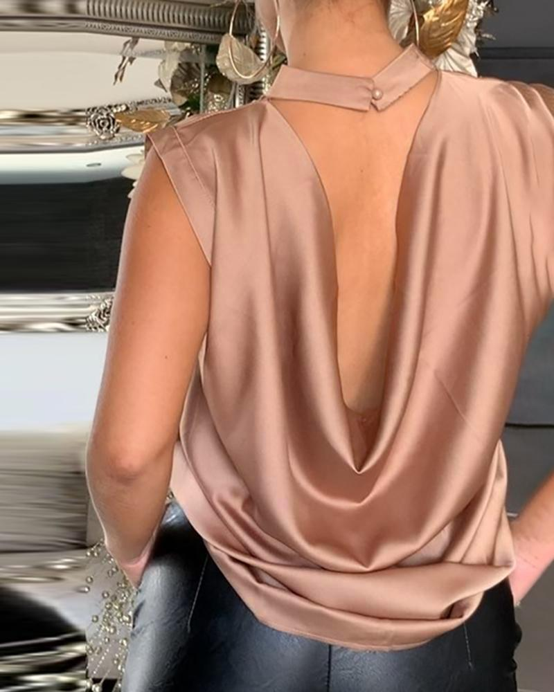 Sleeveless Cowl Neck Open Back Blouse