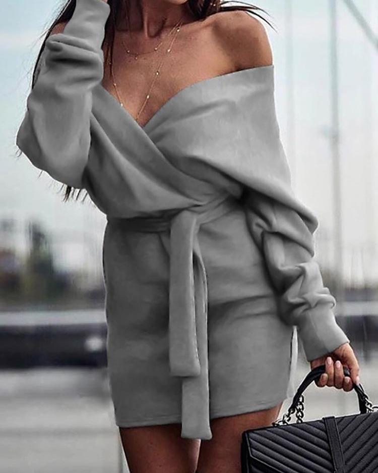 V-Neck Wrap Belted Long Sleeve Dress